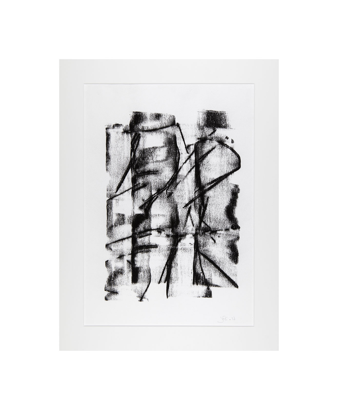 Cha 1.2, Charcoal on paper, black and white artwork, drawing, jf escande, contemporary art