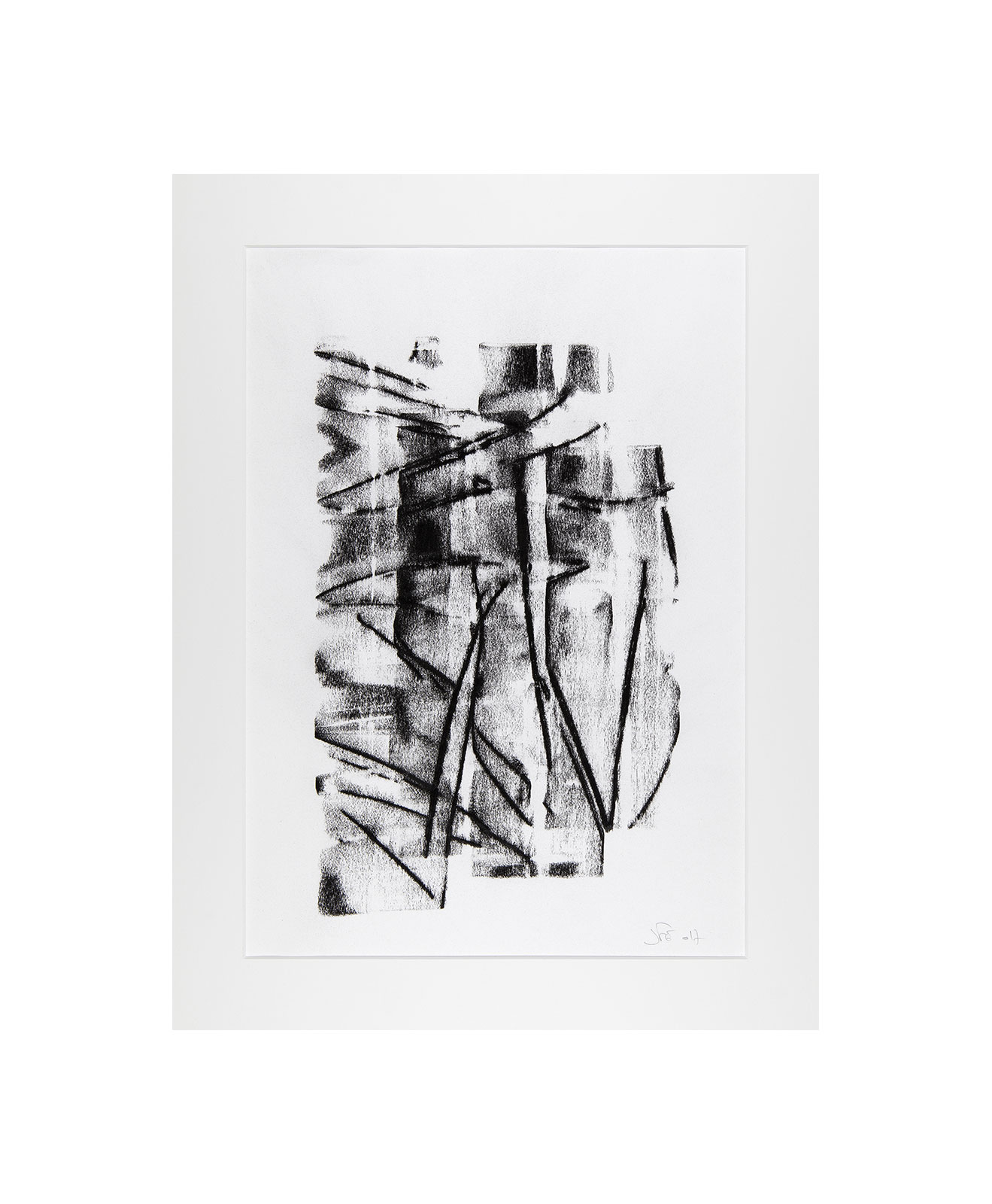Cha 1.9, Charcoal on paper, black and white artwork, drawing, jf escande, contemporary art